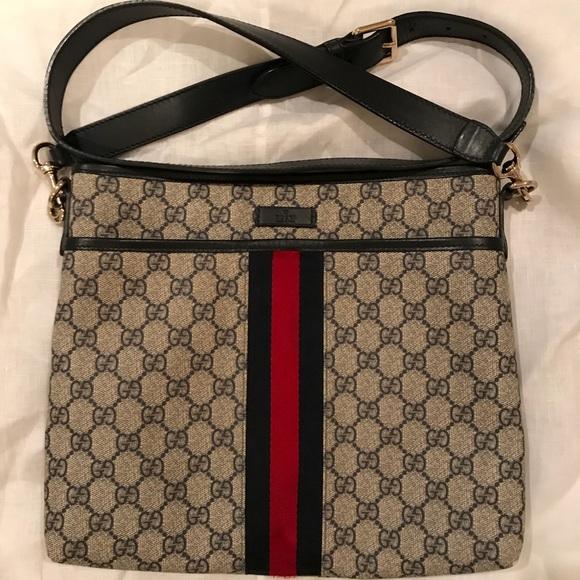 0301191abf2 Gucci Handbags - Gucci crossbody navy bag - adjustable buckle strap